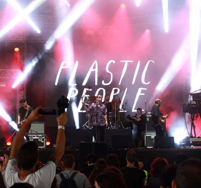 Plastic People lettering on stage