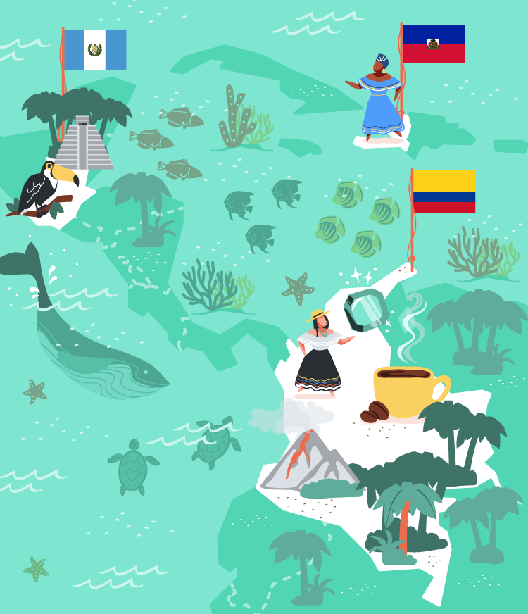 Columbia, Haiti and Guatemala vector illustration for MoveSpring.