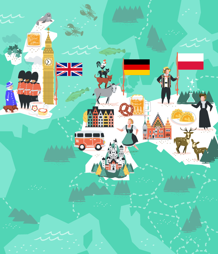 UK, Germany and Poland vector illustration for MoveSpring.