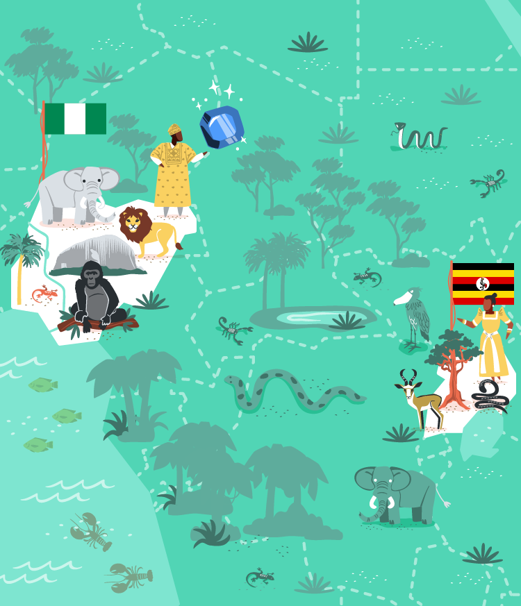 Nigeria and Uganda vector illustration for MoveSpring.