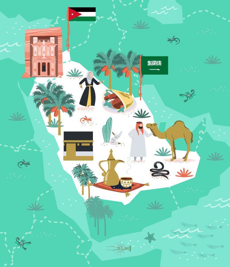 Jordan and Saudi Arabia vector illustration for MoveSpring.