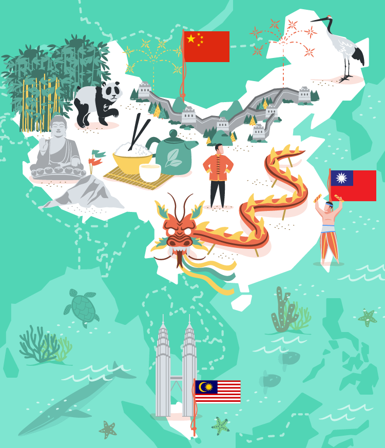 China, Taiwan and Malaysia vector illustration for MoveSpring.