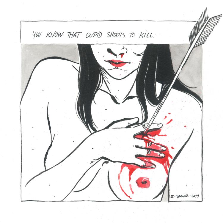 Fatal Shot // drawing ink illustration // Joana Ray
