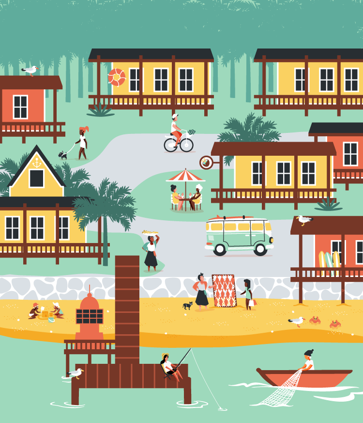 Beach Town vector illustration for MoveSpring.