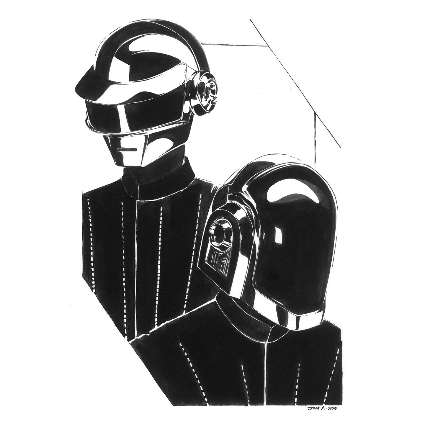 Daft Punk ink portrait by Joana Ray